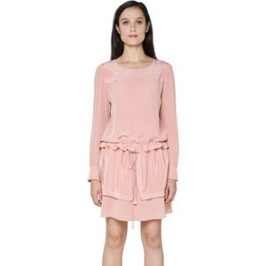 See By Chloé - Pink Embroidered Silk Crepe dress